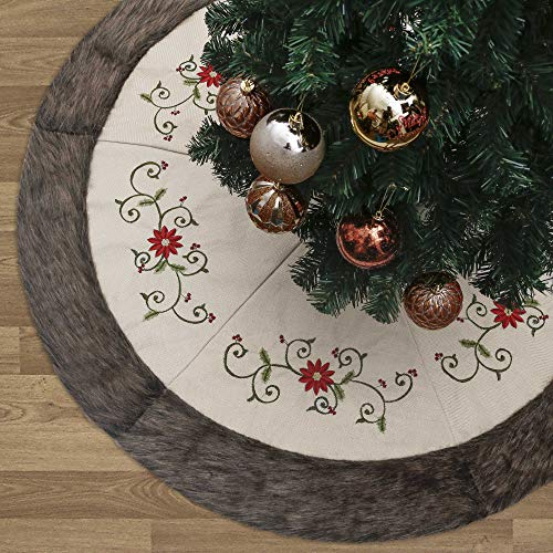 Valery Madelyn 48 inch Farmhouse Rustic Christmas Tree Skirt Decorations with Holly Leaves and Faux Fur Trim, Themed with Christmas Ornaments (Not Included)