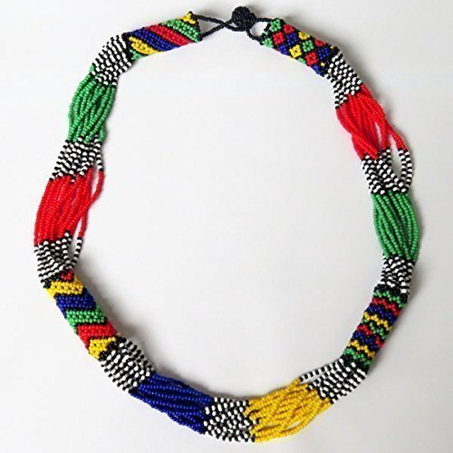 African Beaded Necklace (African Zulu beaded short necklace – South African flag multicolour - Gift for her)