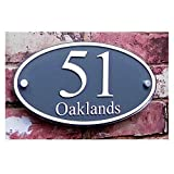 Customized House Sign Plaque Clear Acrylic with Gray Film Door Number/Street Name Sign (210×140mm Curved)