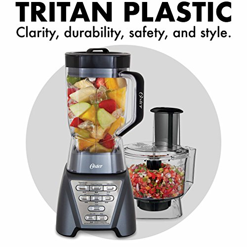 Oster Pro 1200 Blender with Professional Tritan Jar and Food Processor attachment, Metallic Grey - smallkitchenideas.us
