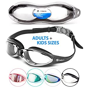 i Swim Pro Swimming Goggles - No Leaking, Anti-Fog, UV Protection, Crystal Clear Vision with Protective Case - Comfortable Fit For Adults, Men, Women,