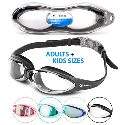 i Swim Pro Swimming Goggles - No Leaking, Anti-Fog, UV Protection, Crystal Clear Vision with Protective Case - Comfortable Fit For Adults, Men, - Trunks Professional Swimming