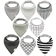 ALVABABY Unisex 8 Pack of Super Absorbent Baby Bandana Drool Teething Bibs for Boys and Girls, Best Baby Shower Gifts Set 8SD05