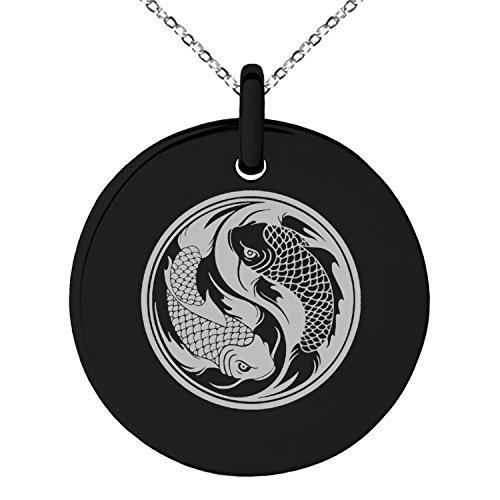Black Stainless Steel Koi Fish Yin Yang Symbol Engraved Small Medallion Circle Charm Pendant (Small Fish Pendant)