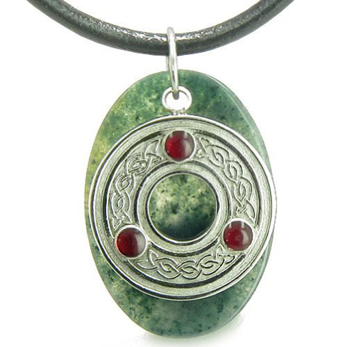 (Amulet Celtic Triquetra Protection Knot Moss Agate Good Luck Leather Pendant Necklace)