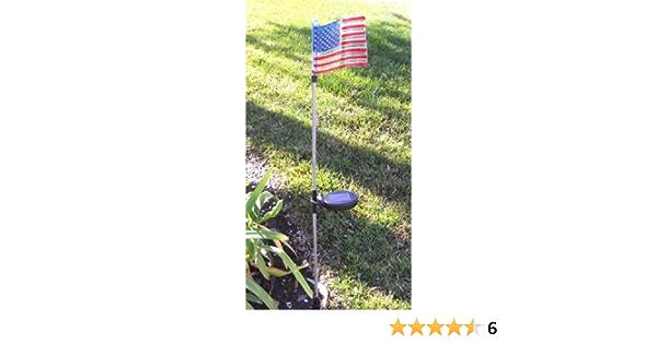 2 Pack Solar Powered Garden Yard Decor Art U.s Flag Stake White Landscape LED