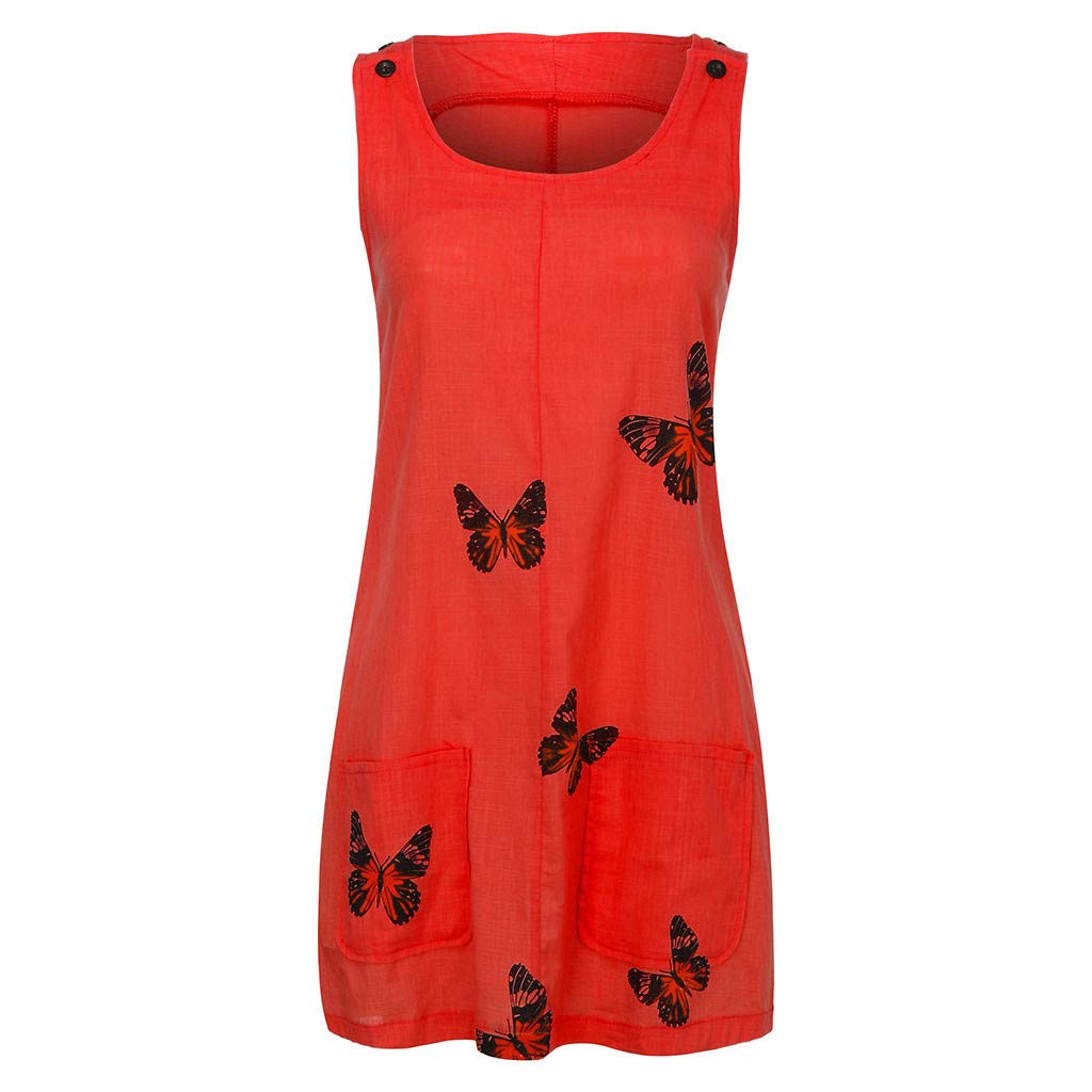 Sonojie Clearance sale Women O-Neck Sleeveless Shoulder Clasp Loose Butterfly Print Cotton and Linen Casual Beach Dress with Pocket