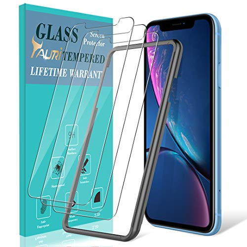 [3-Pack] TAURI Screen Protector for iPhone XR?6.1?, [Alignment Frame] Easy Install [Bubble Free] Tempered Glass Screen Protector, Lifetime Replacement Warranty