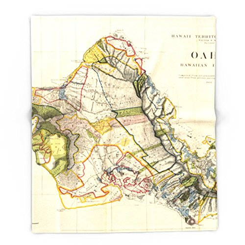 Society6 Vintage Map Of Oahu Hawaii (1906) 88'' x 104'' Blanket by Society6