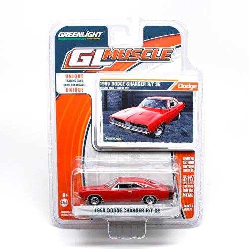1969 Dodge Charger R/T SE (Red) * GL Muscle Series 8 * 2014 Greenlight Collectibles Limited Edition 1:64 Scale Die-Cast Vehicle & Collector Trading (Gmc Pickup Truck Hot Rod)