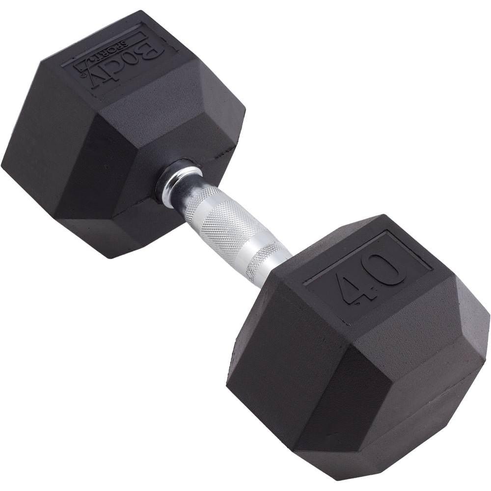Body Sport Rubber Encased Hex Dumbbell, 40-Pound