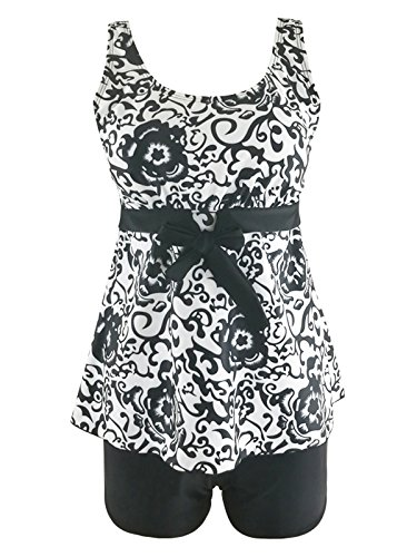 2 Piece Onesie Short (Century Star Women's Summer Floral Printed Swimdress Swimsuit Two Piece Swimwear Plus Size Tankini With Boyshort Bathsuits Black Floral 2XL (US 16-18))