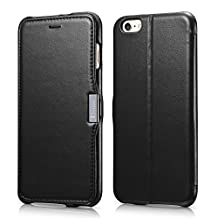 """iPhone 6 Plus Case, Benuo [Luxury Series] 100% Genuine Leather Case with 1 Card Slot & Stand for 5.5"""" iPhone 6 Plus (2014) Only - (Black)"""
