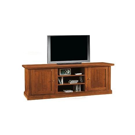 Porta Tv Classico Noce.Mobile Porta Tv Stile Classico In Legno Massello E Mdf Con Rifinitura In Noce Lucido Mis 46 X 160 X 56