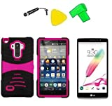 Heavy Duty Hybrid w Kickstand Phone Cover Case Cell Phone Accessory + LCD Screen Protector Guard + Extreme Band + Stylus Pen + Yellow Pry Tool For LG G Stylo LS770 / LG G4 Stylus H631 / LG G Stylo MS631 (S-Hybrid Black Pink) -  ExtremeCases