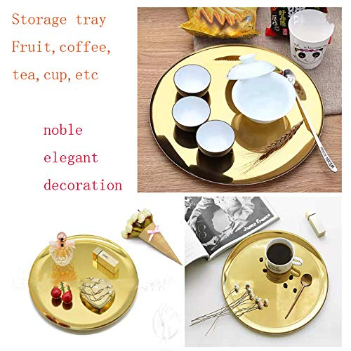 boweiwj Dinner Plates Serving Tray Stainless Steel Tray Golden Plate Cosmetics Jewelry Organizer Towel Tray Storage Tray Dish Tray Tea Tray Fruit Trays (11In Gold Round Tray) ... by boweiwj (Image #1)