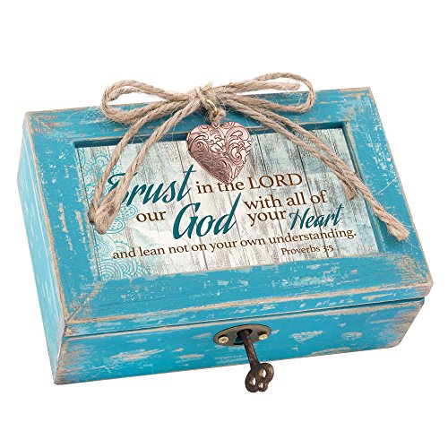 Trust In Lord With Heart Distressed Teal Blue Petite Wood Locket Music Box Plays How Great Thou Art