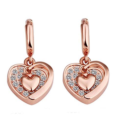 Women Drop Earrings, 18k rose Gold Plated heart Dangle Earrings For Girl fashion