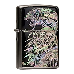 Zippo Mother of Pearl Handmade Tiger in Bamboo Forest Design Black Pocket Oil Cigarette Tobacco Smoking Camping Lighter