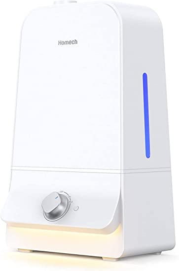 Homech Cool Mist Humidifier 6L, 26dB Quiet Ultrasonic Humidifiers for Large Bedroom