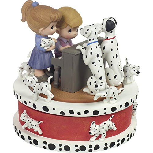 Precious Moments 172058 Dalmatians Plantation Musical Disney Showcase 101 Dalmatians Resin Music Box, Multicolor