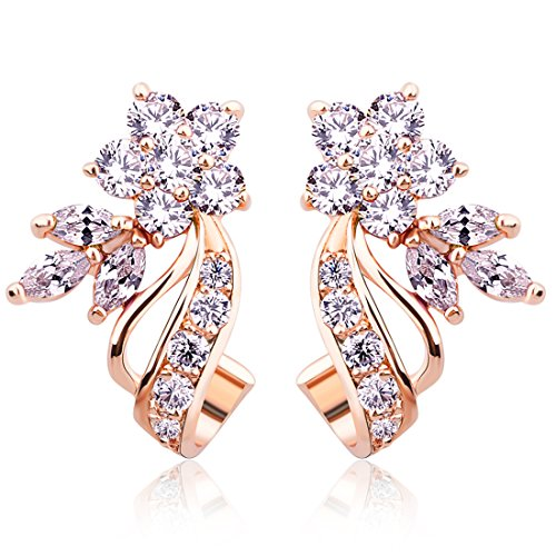 BAMOER Rose Gold Plated Flower Design Multicolor Cubic Zirconia Stud Earrings for Women Girls CZ Jewelry White CZ
