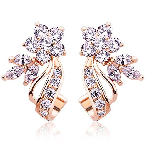 - BAMOER Rose Gold Plated Flower Design Multicolor Cubic Zirconia Stud Earrings for Women Girls CZ Jewelry White CZ