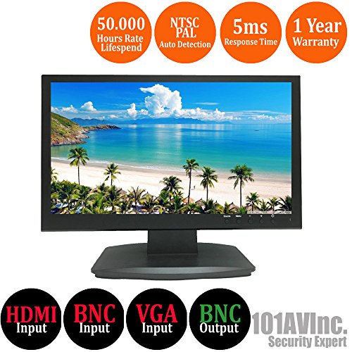 101AV Security Monitor 19.5-Inch True Full HD 1080P 1920×1080 HDMI VGA and Looping BNC output Wide Screen Audio Video Display monitor 2.5D comb Filter DVR Home Office Surveillance Optional Mount