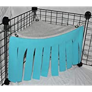Corner Fleece Forest Hideout for Guinea Pigs, Ferrets, Chinchillas, Hedgehogs, Dwarf Rabbits and Other Small Pets - Accessories and Toys (Blue/Gray)