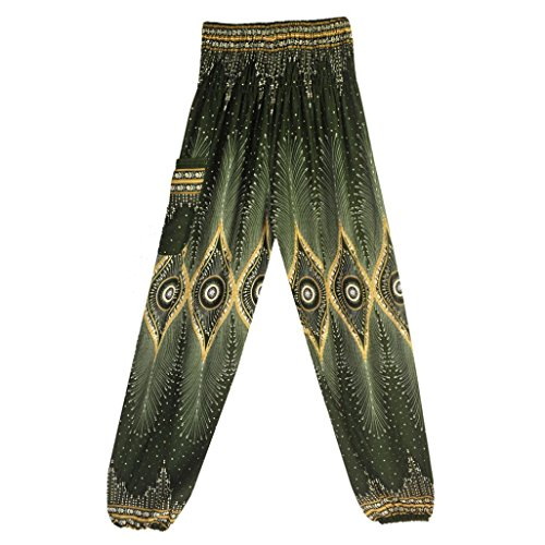 GoodLock Men Women Boho Hippy Harem Pants Thai Trousers Festival Smock High Waist Yoga Pants (Green) ()