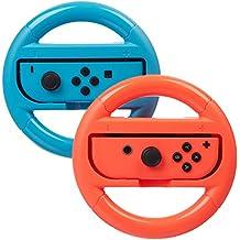 AmazonBasics Steering Wheel for Nintendo Switch - Blue/Red (2 Pack)