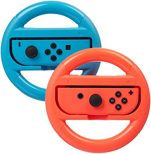 Price comparison product image AmazonBasics Steering Wheel for Nintendo Switch - Blue/Red (2 Pack)