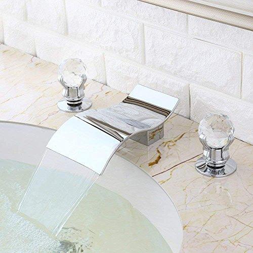 KunMai Widespread Waterfall 2 Crystal Handles 3-Hole Bathroom Sink Faucet Polished -