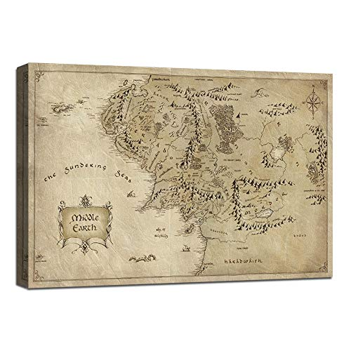 1 Piece Wall Art Picture Lord of the Rings Map Canvas Painting Map of Middle Earth Poster HD Print Home Decor Artwork for Living Room Bedroom Office Stretched and Framed -