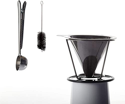 Eco Friendly Stainless Steel Pour Over Coffee Dripper w Coffee Scoop Bag Clip, Stainless Steel Coffee Filter, Paperless and Reusable Coffee Maker, Supports Coffee Farmers