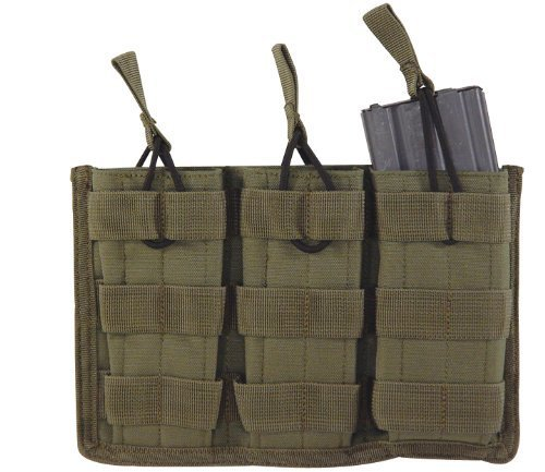 VooDoo Tactical 20-8180004000 M4/M16 Open Top Mag Pouch With Bungee System, OD, (System M4 Double Mag Pouch)
