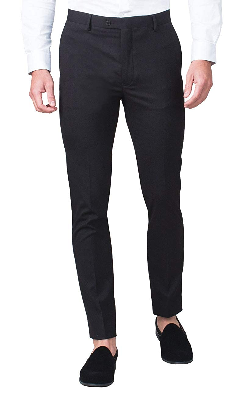 Avail London Mens Black Suit Trousers Skinny Fit
