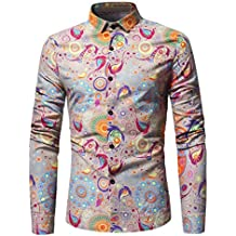 Elogoog Men's Personality Printed Button Down Casual Long Sleeve Slim Fit Tee Shirt