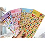 4 Sheets Cute Lovely 3D DIY Decorative Puffy Adhesive Sticker Tape / Kids Craft Scrapbooking Sticker Set for Diary, Album