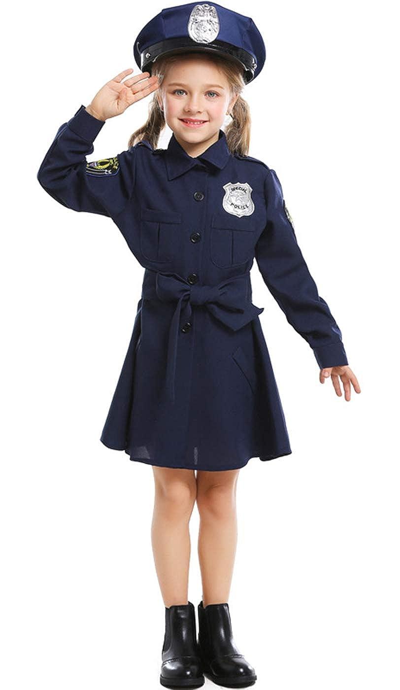 MOMBEBE COSLAND Disfraz Policía Niña Vestido Manga Larga con Gorra ...