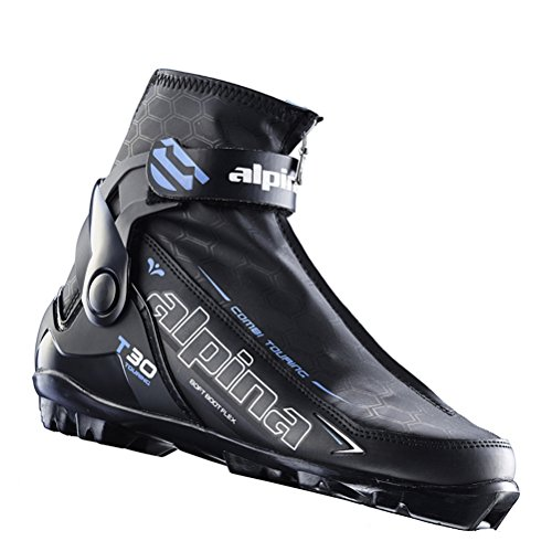 (Alpina Sports Women's T 30 Eve Touring Ski Boots With Cuff & Zippered Lace Cover, Euro 39, Black/White/Blue)