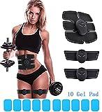 Muscle Toner Abdominal Toning Belt EMS Abs Trainer Wireless Body Gym Workout Home Office Fitness Equipment For Abdomen/Arm/Leg Training Men Women Plus 10 Gel Pads (Black White)