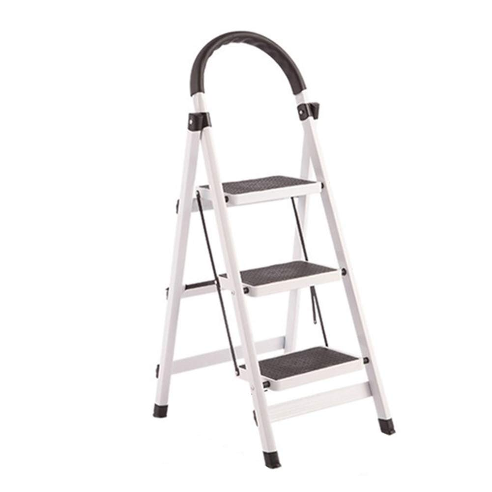 White AYLS Household Folding Ladder Stool Creative Multifunctional Kitchen High Bench Simple Indoor Step Chair Portable 3Step,Pink