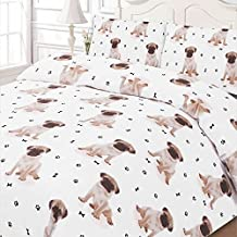 Dreamscene Luxuriously Soft Animal Pug Duvet Cover Bedding Set With Pillowcases, White, Double by Dreamscene