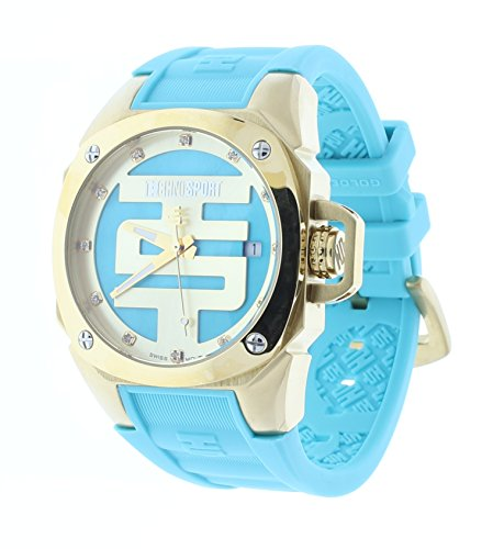 Technosport Swarovski Crystal 38mm Gold Case Teal Silicone Strap Women's Watch TS-102-12