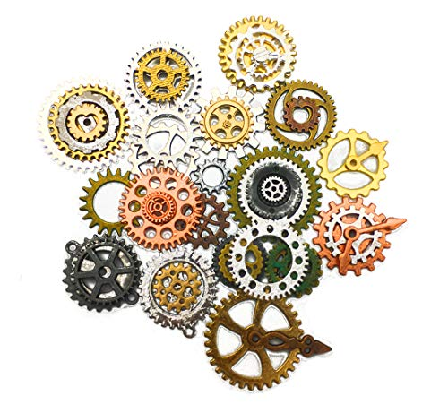 Hyamass 100 Gram (Approx 60-70pcs) 12 Color Mixed Assorted Antique Steampunk Gears Charms Pendant Clock Watch Wheel Gear for Crafting, Jewelry Making Accessory from Hyamass
