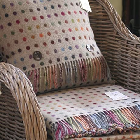 BRONTE Lambswool Spot Beige Throw 1x Cushion Feather Filled Blanket UK Made