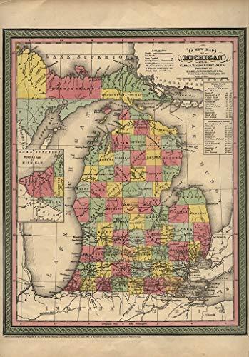 Art Oyster Map of Michigan, 1853-34