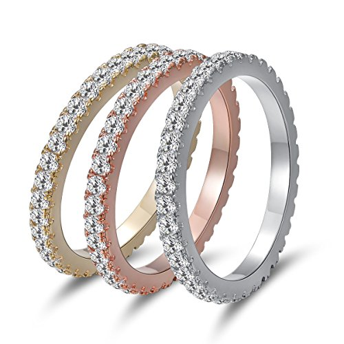 - MDFUN Yellow Gold/Rhodium/Rose Gold Plated Cubic Zirconia Eternity Ring 3 PCS Set (6)