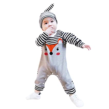 a2c8b0785 Sikye Stripe Sleeve Romper for Baby Girls Boys Animal Fox Jumpsuit Bodysuit  and Hat Casual Outdoor